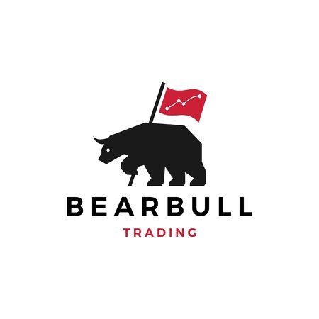 bear bull trading logo vector illustration