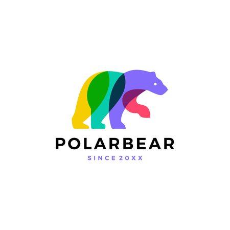 polar bear colorful logo vector icon illustration