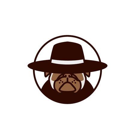 pitbull dog with hat logo vector illustration