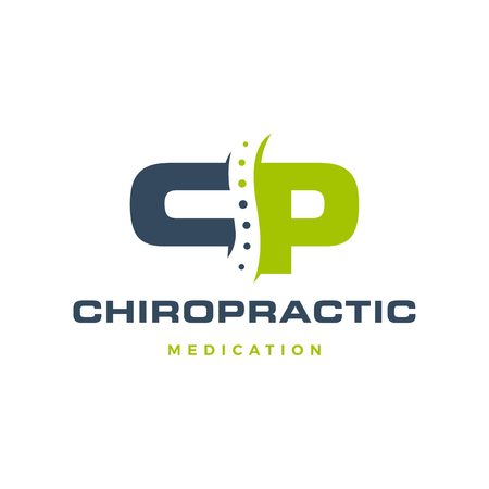 CP letter chiropractic logo vector icon Logo
