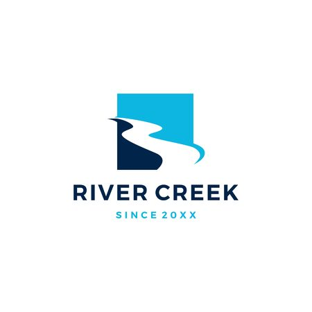 river creek logo vector icon illustration 矢量图像