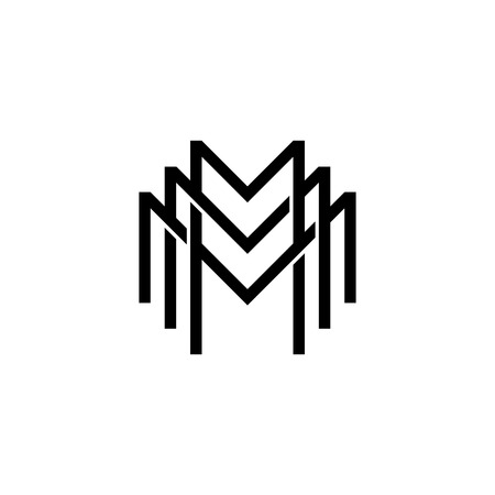 triple m monogram mmm letter hipster lettermark logo for branding or t shirt design