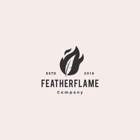 feather pen fire flame logo hipster vintage retro vector icon