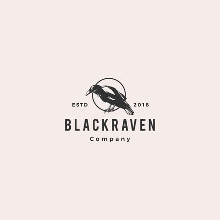 black raven crow logo hipster vintage retro vector icon illustration Vettoriali