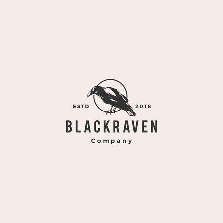 black raven crow logo hipster vintage retro vector icon illustration Illustration
