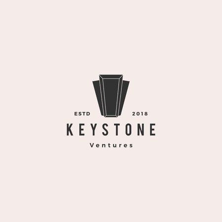 Keystone key stone logo hipster retro vintage vector icon illustration line outline monoline