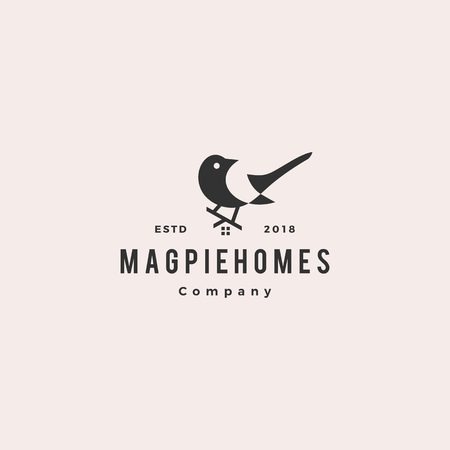 magpie homes house logo hipster retro vintage vector icon illustration