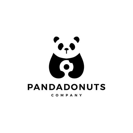 panda donuts logo vector icon illustration 矢量图像
