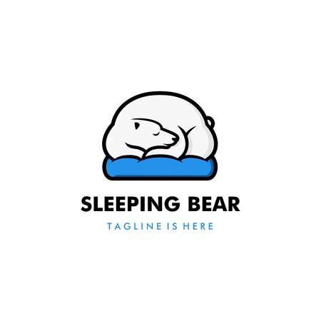lazy sleeping white polar bear in blue pillow logo vector template illustration Vettoriali