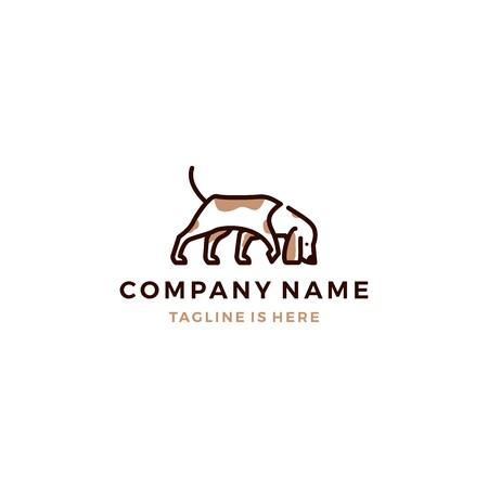 walking dog smells vector logo template Illustration