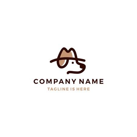 dog detective head using hat vector icon logo template Illustration