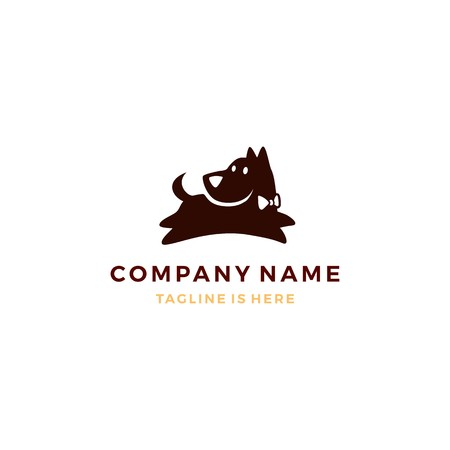 flat dog pose logo vector template Illustration
