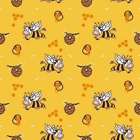 happy cartoon cow bee honey hive seamless pattern vector background Stock Illustratie