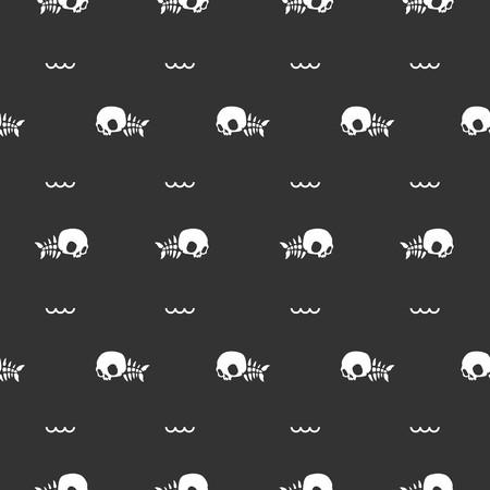 skull fish bone halloween seamless pattern vector background illustration Ilustração