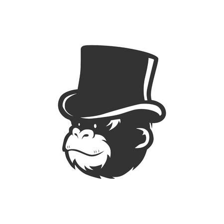 monkey chimp wearing bucket hat logo vector illustration