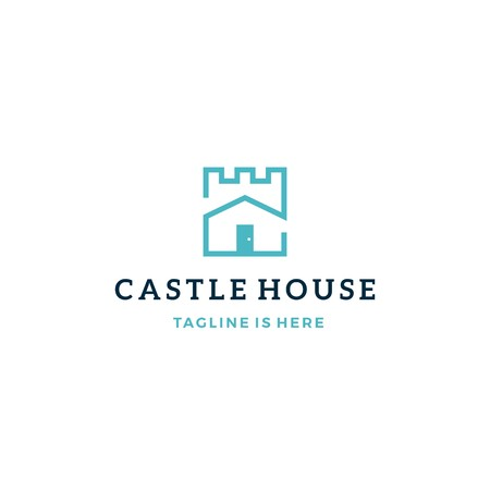 castle house real estate mortgage vector logo icon template