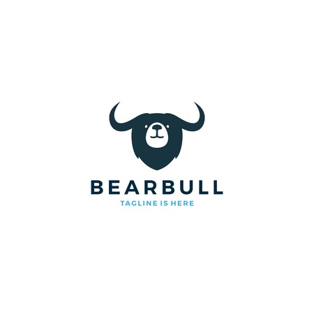 bear bull head face logo vector icon template illustration Illustration