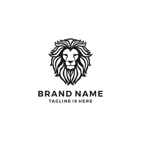 lion head logo template vector icon