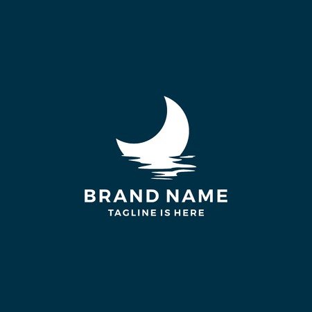 half moon set rise sea ocean surface water logo template icon vector Illusztráció
