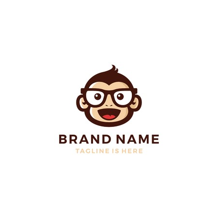 monkey chimp geek smart charm mascot character logo template vector icon 向量圖像