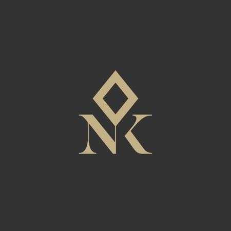 NK letter luxury monogram logo template vector icon