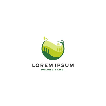 green agriculture landscape logo template vector icon