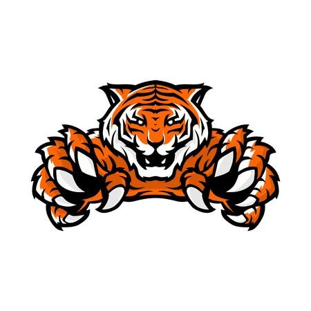 modello di illustrazione vettoriale del logo di gioco sportivo della tigre arancione con sfondo bianco Logo