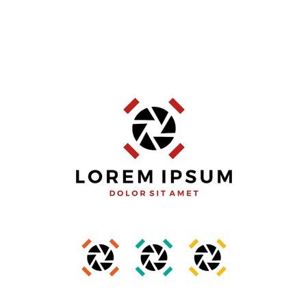 drone logo shutter lens photography video service vector icon template