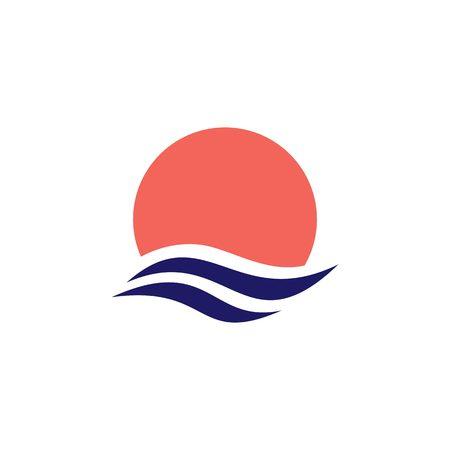 wave water sea sunset sun logo vector icon illustration Çizim