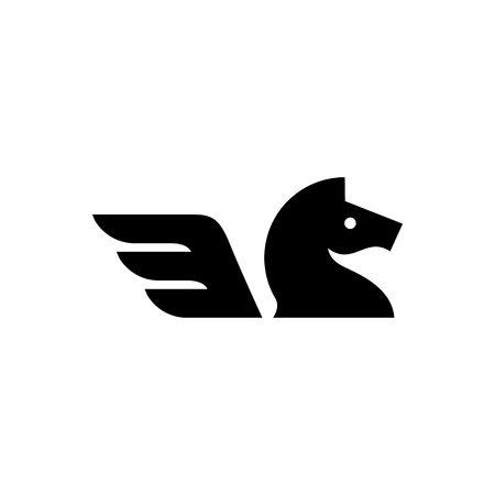 horse wing logo vector icon illustration