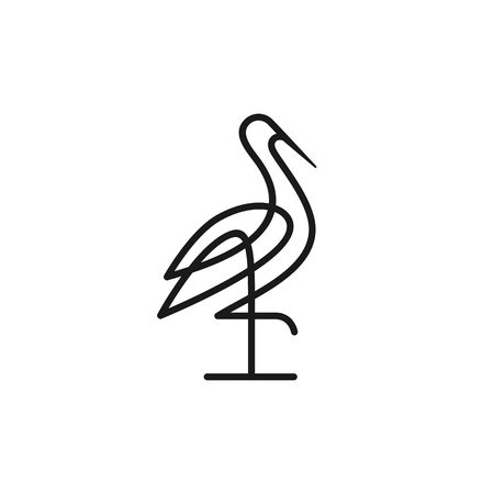 stork logo colorful line art monoline outline vector illustration download