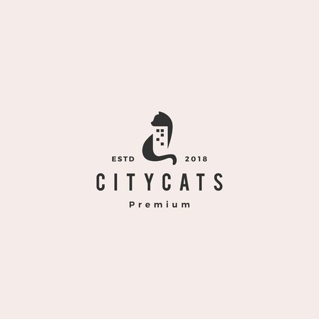cat city building home house logo vector icon illustration