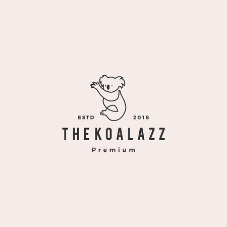 koala logo vector icon line outline illustration
