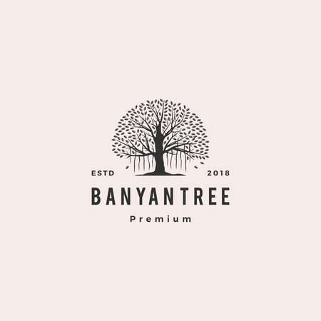 banyan tree logo vector icon illustration Иллюстрация