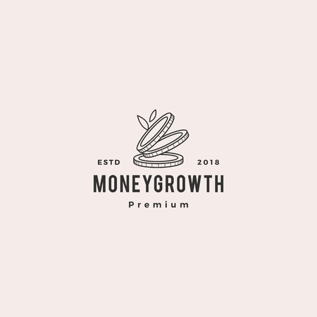 coin leaf sprout money grow growth investment logo vector icon illustration
