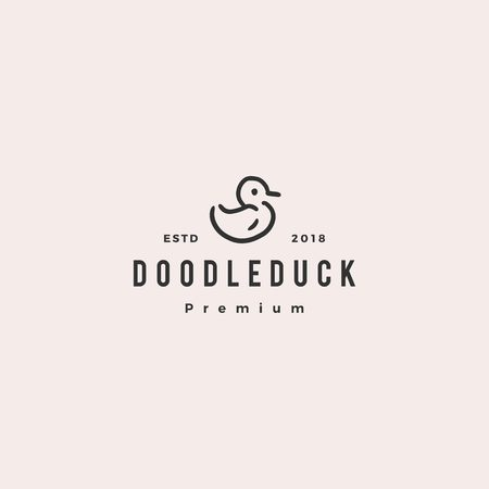 doodle duck logo vector icon illustration