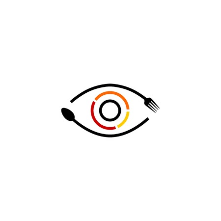 eye see food spoon fork logo vector icon illustration