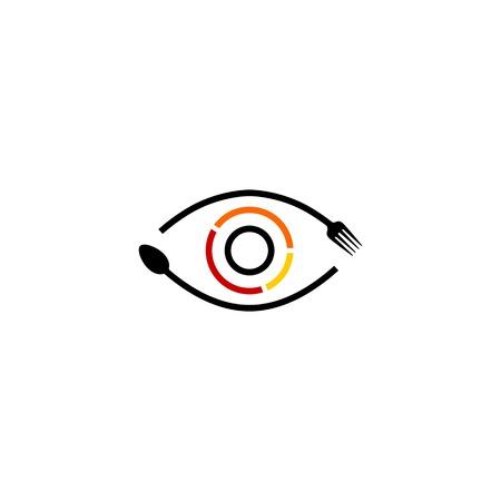eye see food spoon fork logo vector icon illustration