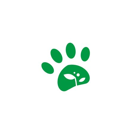 pet paw leaf sprout growth logo vector icon illustration