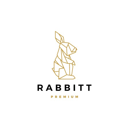 geometric rabbit hare bunny logo vector icon origami illustration