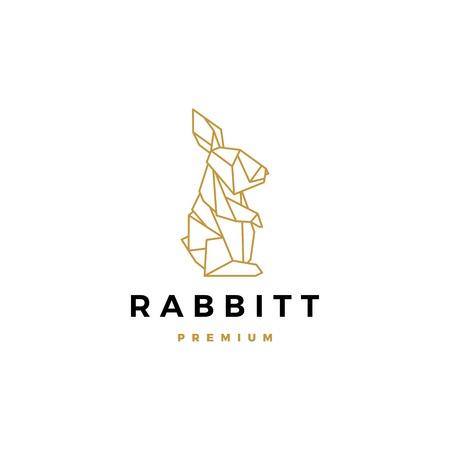 geometrische kaninchen hase hase logo vektor symbol origami illustration
