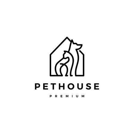 dog cat pet house home logo vector icon line art outline