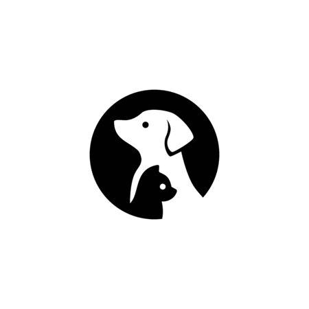 dog cat pet logo vector icon illustration negative space style Logo