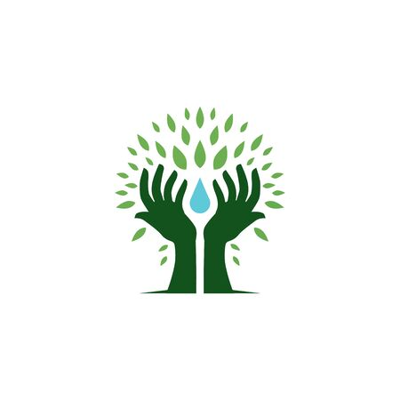 hand tree hold water drop leaf logo vector icon illustration Illustration