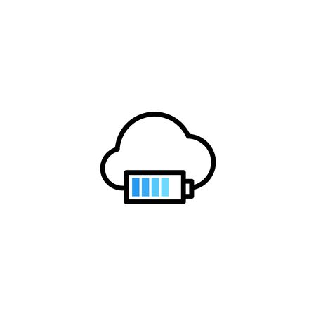 cloud charger charging battery indicator logo vector icon illustration