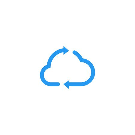 cloud update recycle arrow logo vector icon illustration