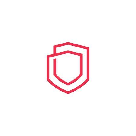 geometric shield logo vector icon illustration line outline monoline Banque d'images - 127371282