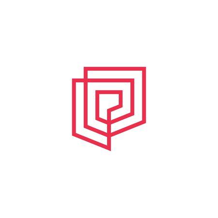 geometric shield logo vector icon illustration line outline monoline Banque d'images - 127371470