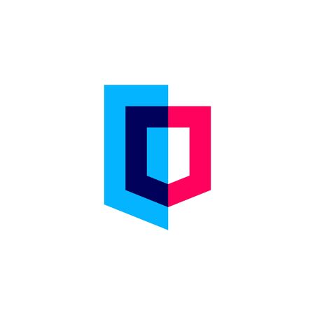 overlapping geometric shield logo vector icon illustration Banque d'images - 127371481