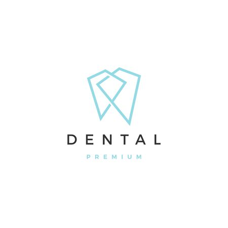 geometric dental logo vector icon illustration line outline monoline